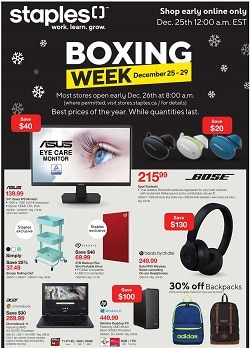 Staples Boxing Week Flyer Sale valid December 25 – December 29, 2020